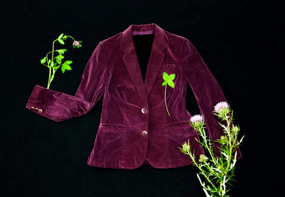 Vintage 1970s plum velveteen jacket blazer, purple cotton business casual boho retro S