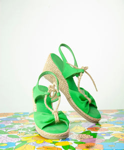 Vintage 1970s green wedge sandals, strappy espadrilles shoes, retro boho canvas jute, NOS box 7.5