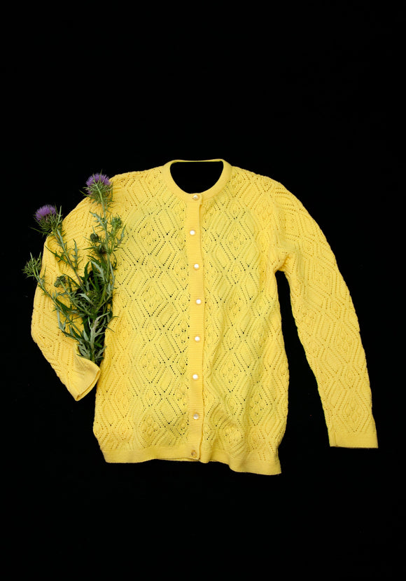Vintage 1960s yellow sweater, long sleeve knit cardigan, wool blend S M