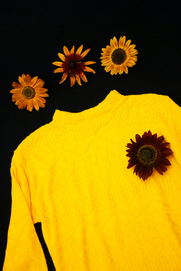 Vintage 1980s yellow sweater, bright mustard knit long-sleeve oversized pullover mockneck acrylic S