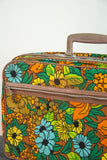 Vintage colroful floral suitcase, small orange yellow green poppies flowers fabric mod 1960s retro 1970s child's travel bag decor