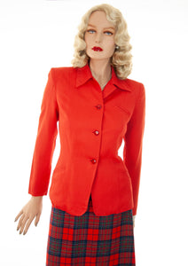 Vintage 1940s red blazer, long sleeve rayon shoulder pads formal jacket S
