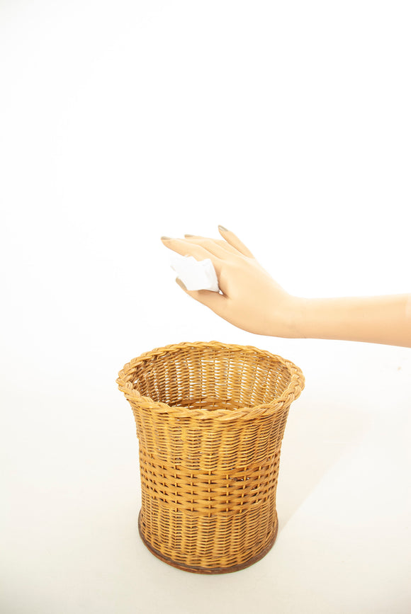 Vintage wicker wastepaper basket, small natural brown woven garbage trash can, 1940s