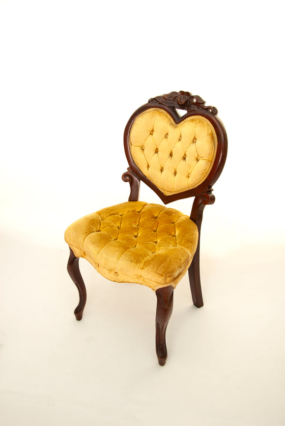 Vintage yellow velvet chair, antique Victorian tufted parlor furniture, brown carved wood rose gold heart, 1800s