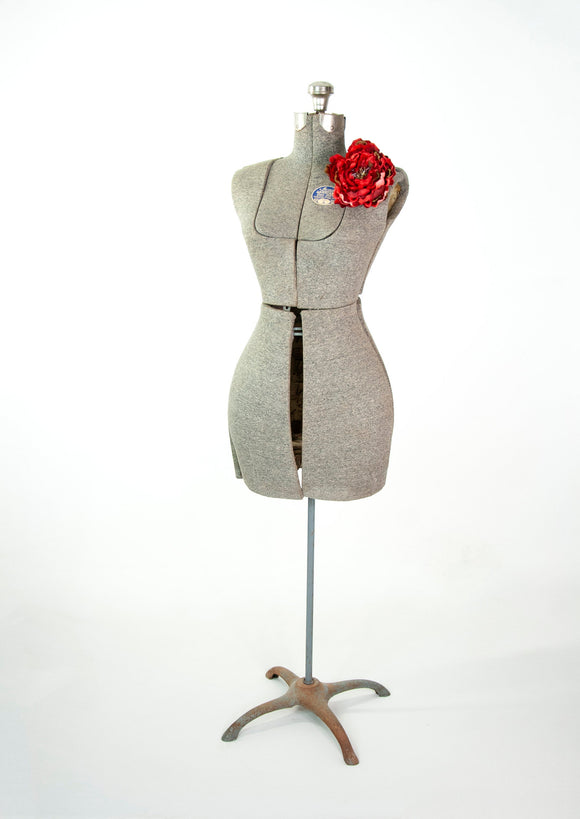 Vintage 1910s dress form, gray curvy adjustable full-size female sewing torso mannequin display, counter table floor S antique Edwardian