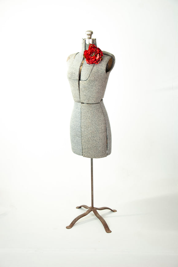 Vintage gray adjustable dress form, full-size floor counter-top female torso sewing mannequin display 1950s mid-century S M