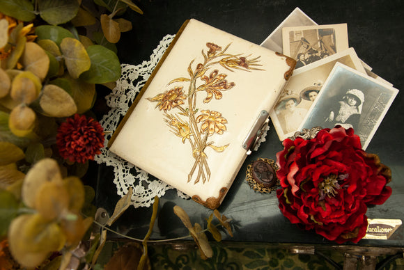 Antique white floral photo album, small gold copper daisies, green velvet Victorian Art Nouveau picture book scrapbook 1800s