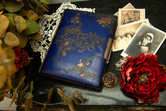 Antique blue photo album, floral green velvet Victorian Art Nouveau cobalt gold, scrapbook 1800s vintage