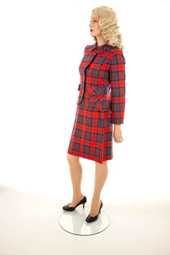Vintage red plaid suit, two-piece wool tartan jacket outfit, high-waist mini skirt blazer set, navy blue green Pendleton 1960s 1970s retro S