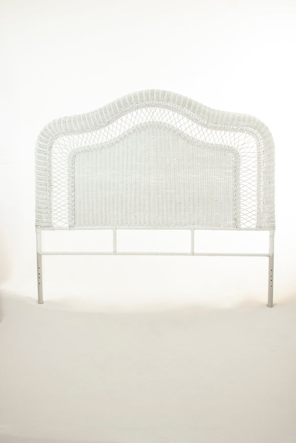 Vintage queen white wicker headboard, painted woven bed frame, Victorian antique style 1800s vintage boho