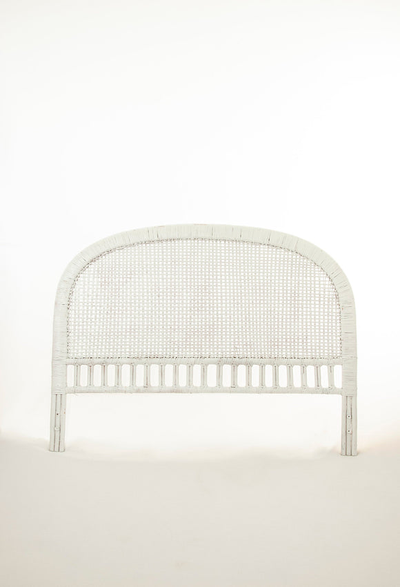 Vintage white wicker headboard, full bed frame, rounded woven Victorian antique style, 1970s boho bedroom furniture