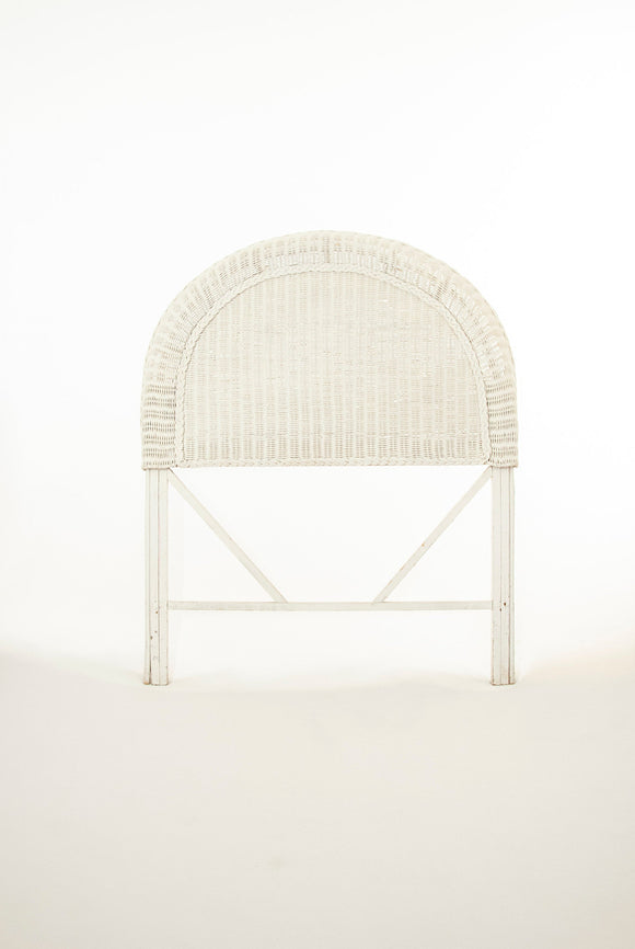 Victorian white wicker headboard, twin bed frame, rounded solid woven antique 1800s vintage
