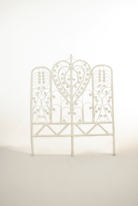 Victorian white wicker headboard bed frame, twin painted bedroom furniture, antique 1800s vintage