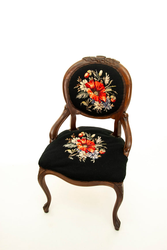 Vintage red poppy chair, black needlepoint floral antique Victorian parlor furniture, brown carved wood, 1800s