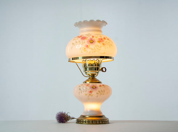 Vintage white floral lamp, pink purple 1980s electric glass painted globe, flowers hurricane Victorian style bedroom accent table light