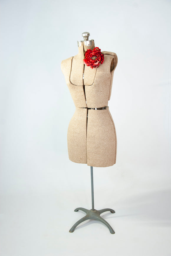 Vintage tan adjustable dress form, full-size female sewing torso mannequin display, 1950s mid-century