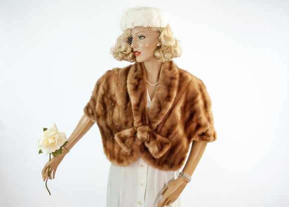 Vintage 1950s brown mink stole, genuine fur formal shawl wrap shrug, bow, snap closure