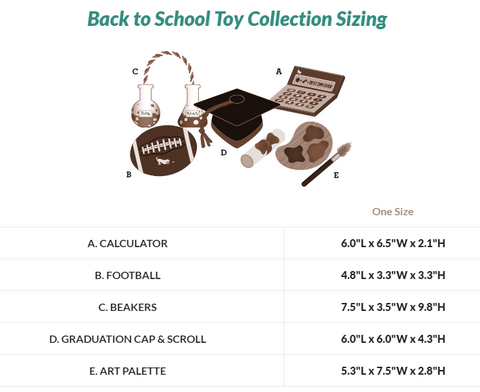 Back to School Toy Collection Sizing