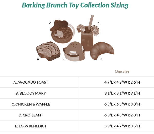 Barking Brunch Toy Collection Sizing