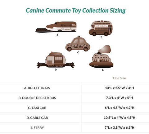 Canine Commute Toy Collection Sizing