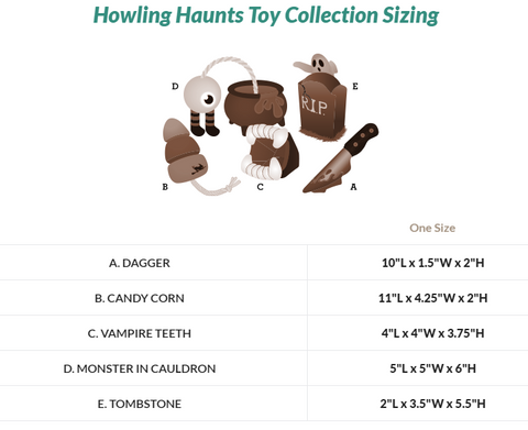 Howling Haunts Toy Collection Sizing