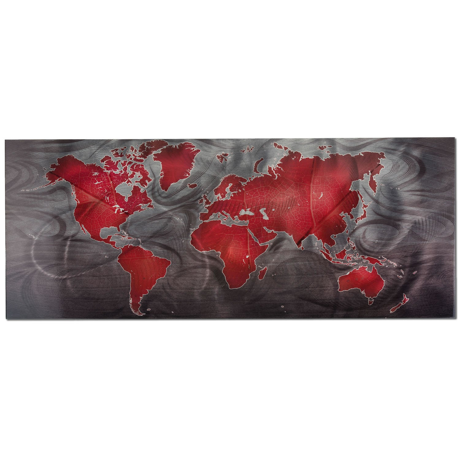 Red/Pewter Land & Sea - Large Indoor/Outdoor Modern Metal Wall Art
