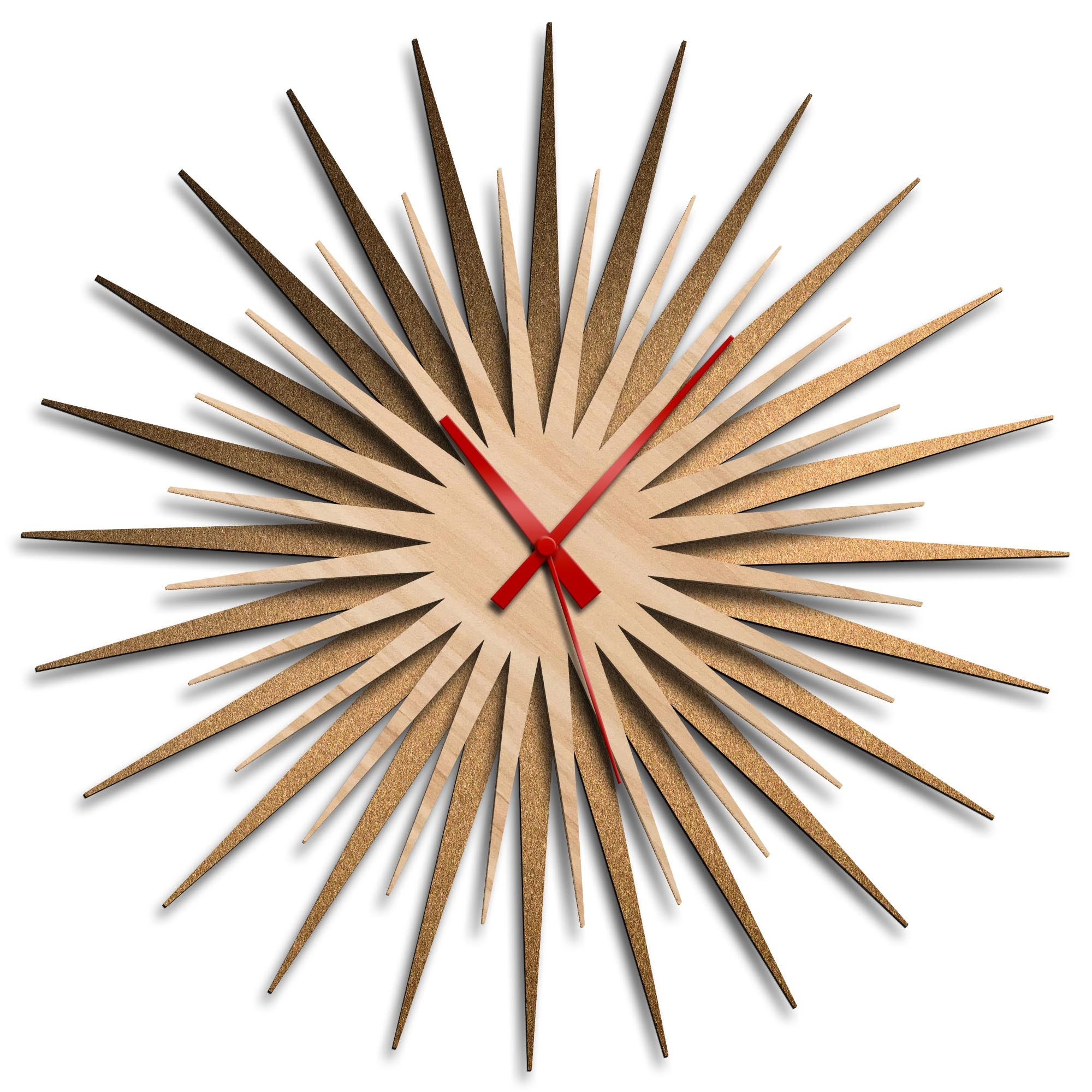 Atomic Era Clock Bronze Maple Red by Adam Schwoeppe - Mid-Century Modern Clock on Brushed Bronze Polymetal