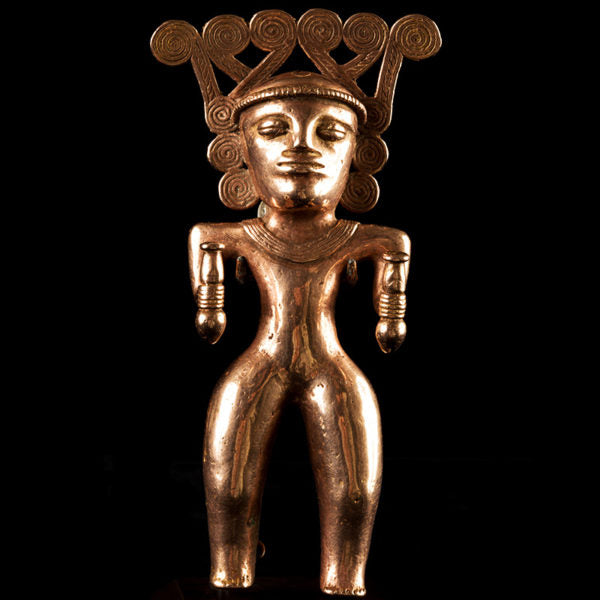 Magnificent Rare International Style Gold Figure of Shaman – Costa Rica/Panama Ca. 500-1000.AD. EXHIBITED (Price On Request)