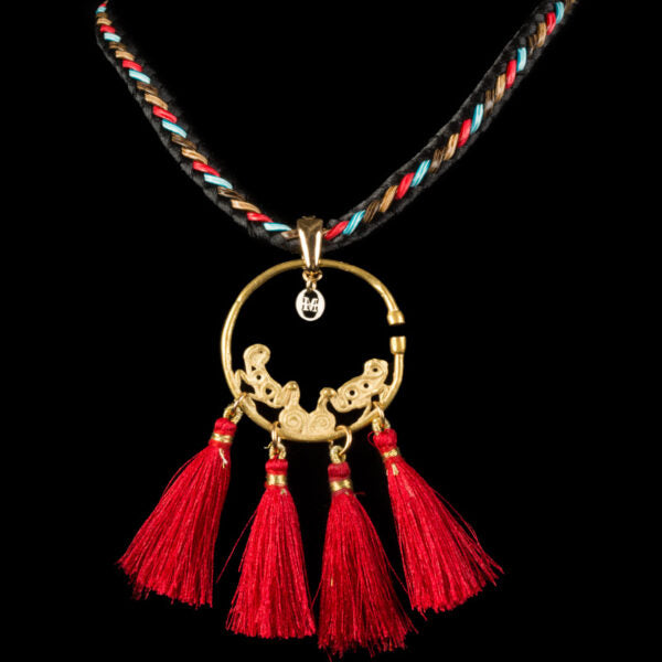 Sinu Circular Gold Earring with four Red tassels (Price On Request)