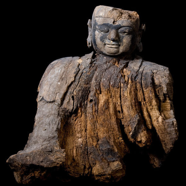 Wooden Bust of Lohan. Yuan Dynasty. (1271 to 1368 AD.)
