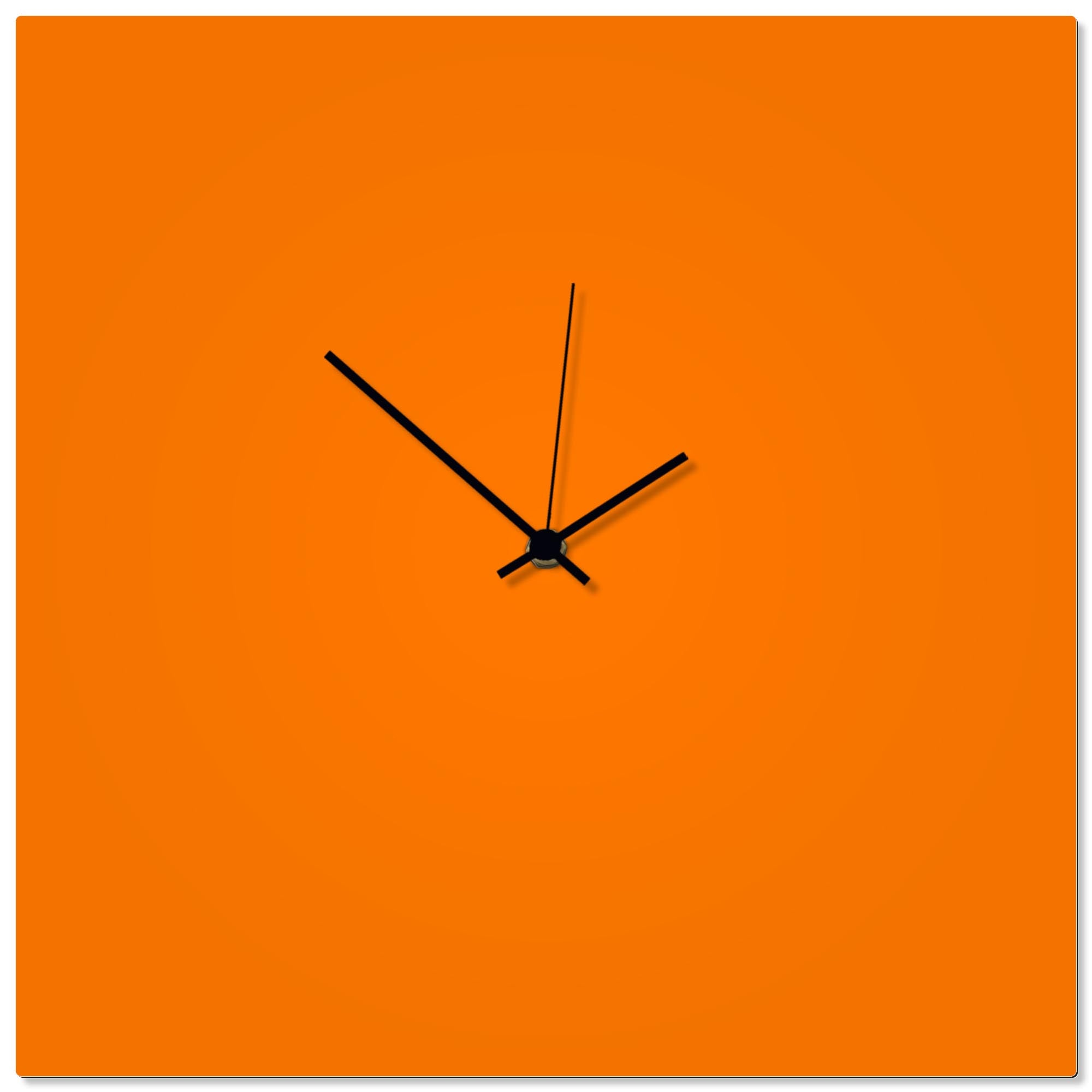 Orangeout Black Square Clock by Adam Schwoeppe - Contemporary Clock on Aluminum Polymetal