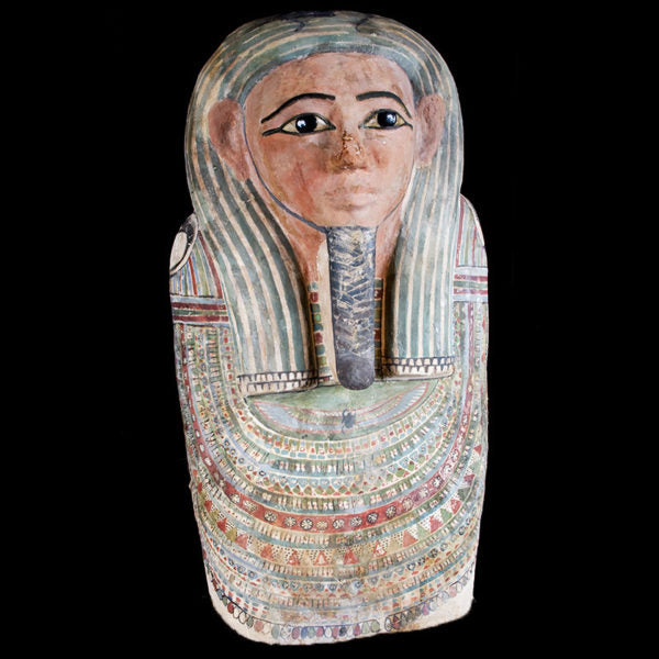 Amazing Polychrome Upper Sarcophagus Lid.  Bronze Eyebrows with Black Obsidian Pupils. (Price On Request)