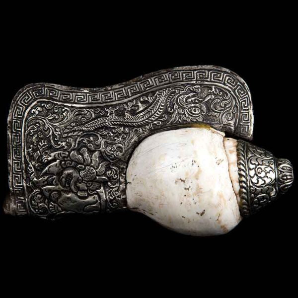 Tibetan Silver and Conch Shell Trumpet
