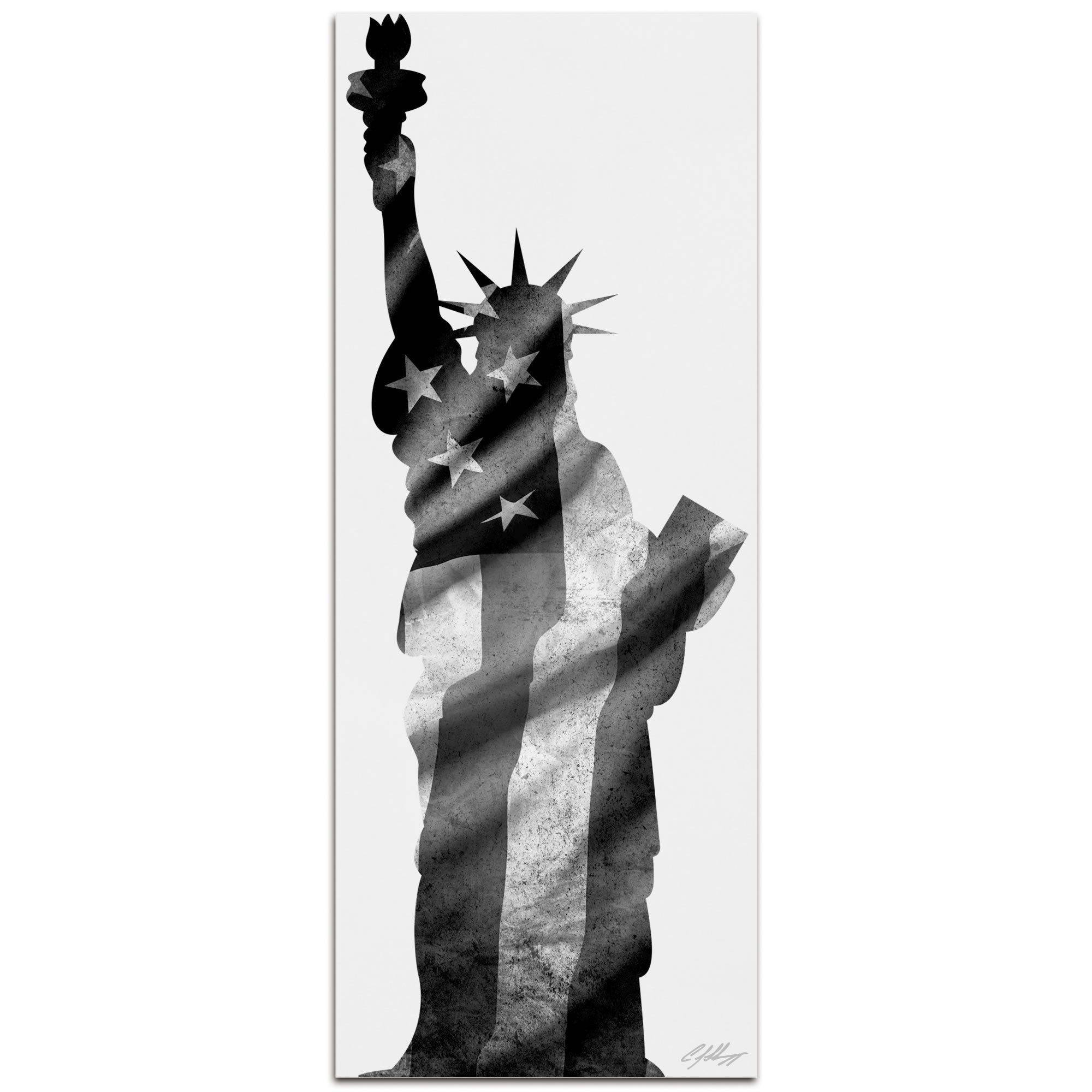 LADY LIBERTY BLACK & WHITE | 48x19 in. Metal Patriotic Print