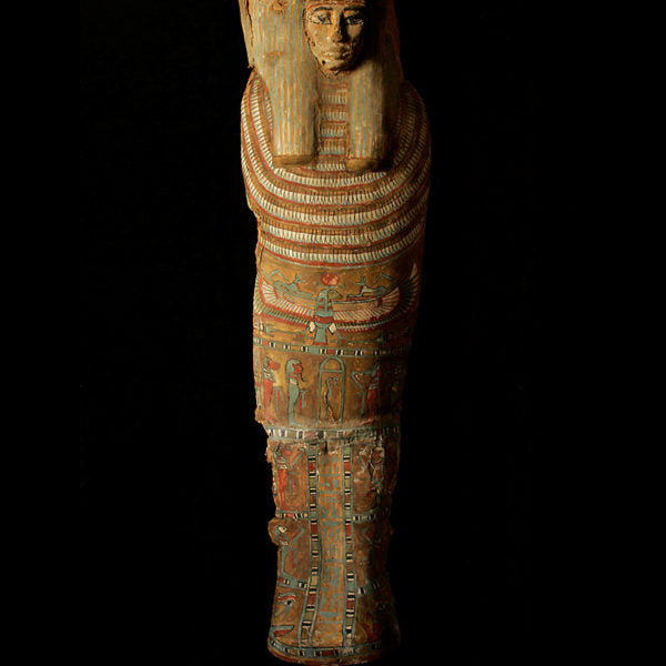 "Complete Polychrome Paint Linnen ""Cartonagge"" of an Egyptian Mummy with its Wooden Mask (Price On Request)"