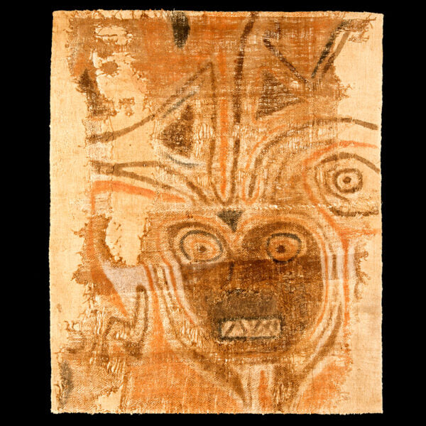 Chancay Precolombian Painting of a Multicolor Shaman Face