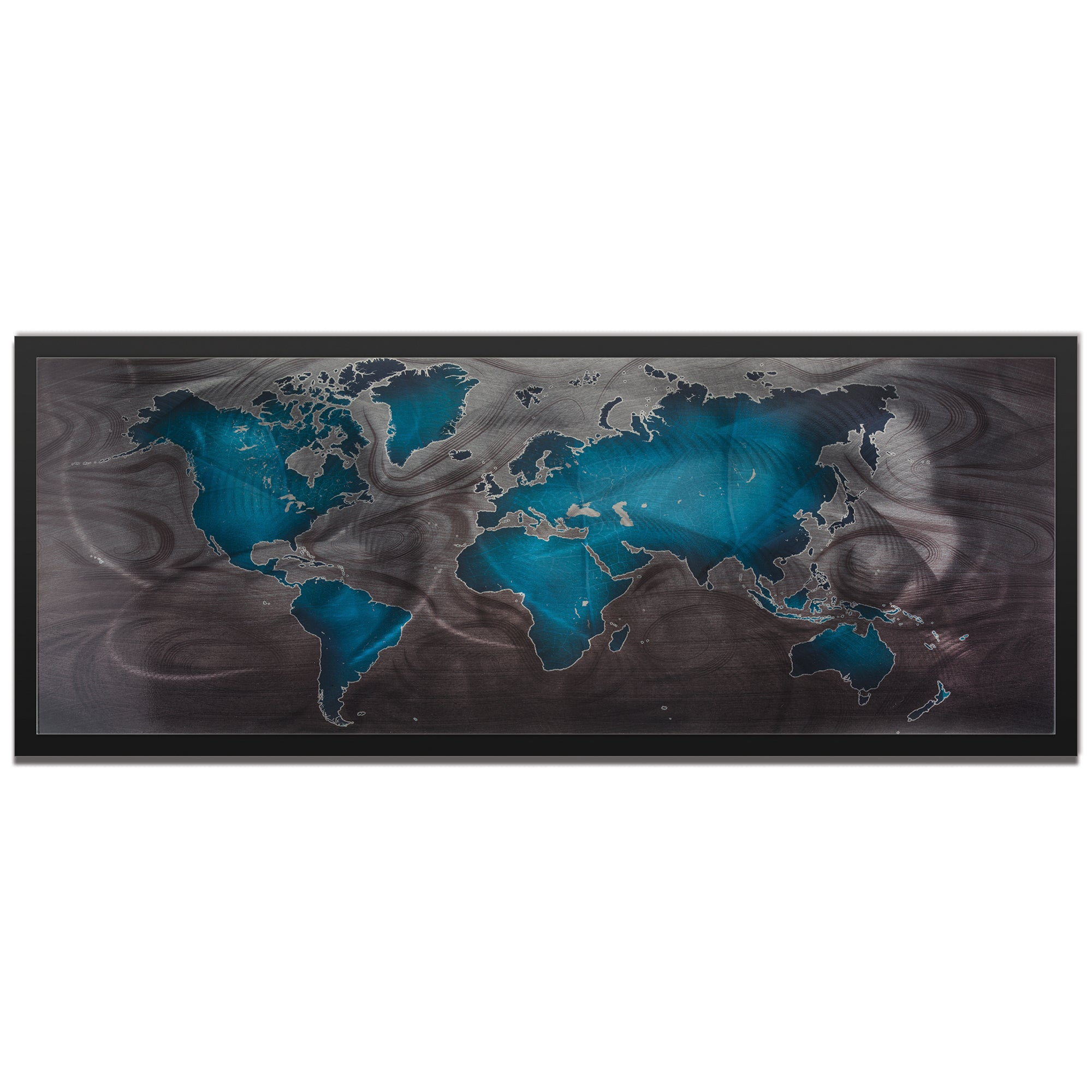 Blue Pewter Land and Sea Framed by Amber LaRosa - Traditional World Map Art on Colored Metal