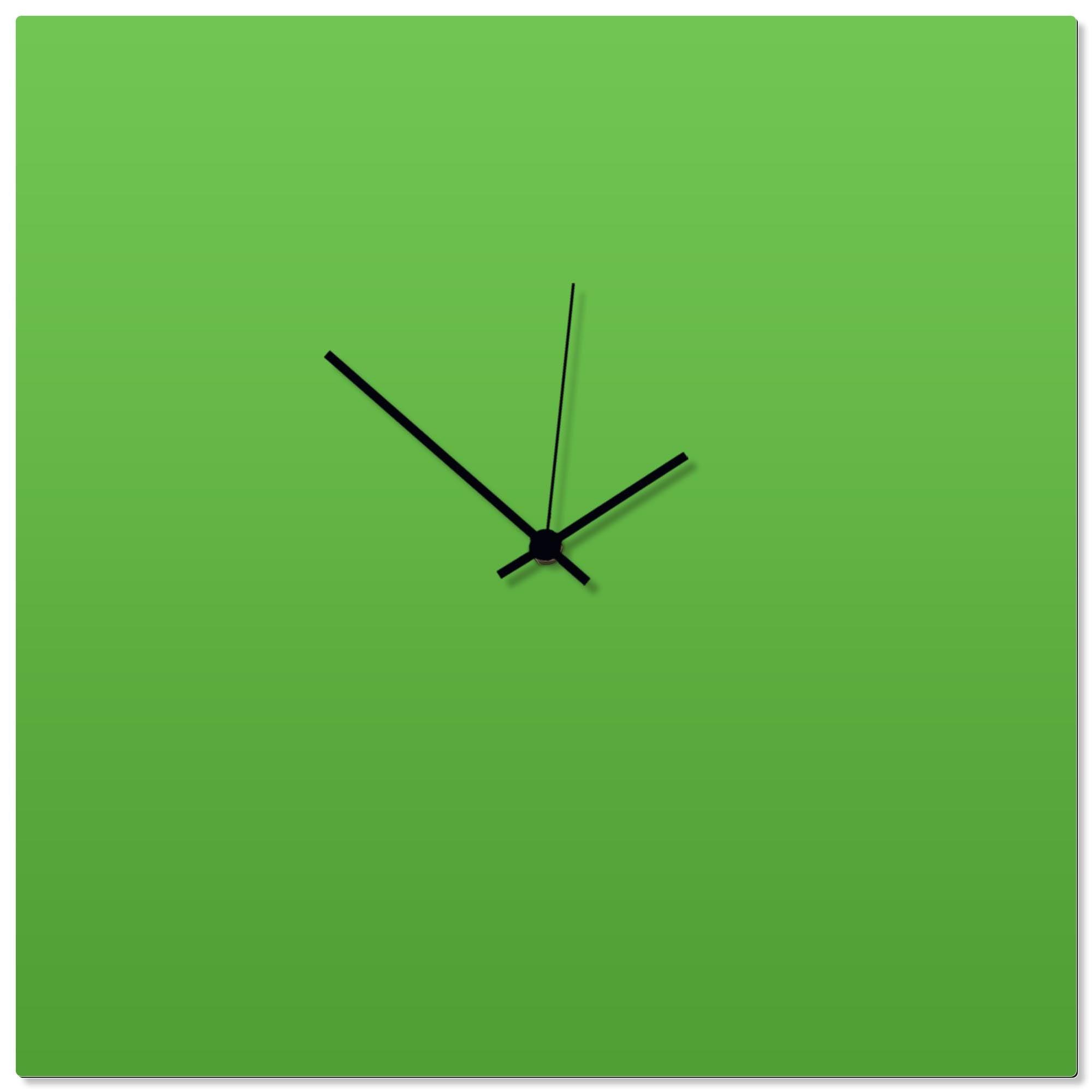 Greenout Black Square Clock Large by Adam Schwoeppe - Contemporary Clock on Aluminum Polymetal