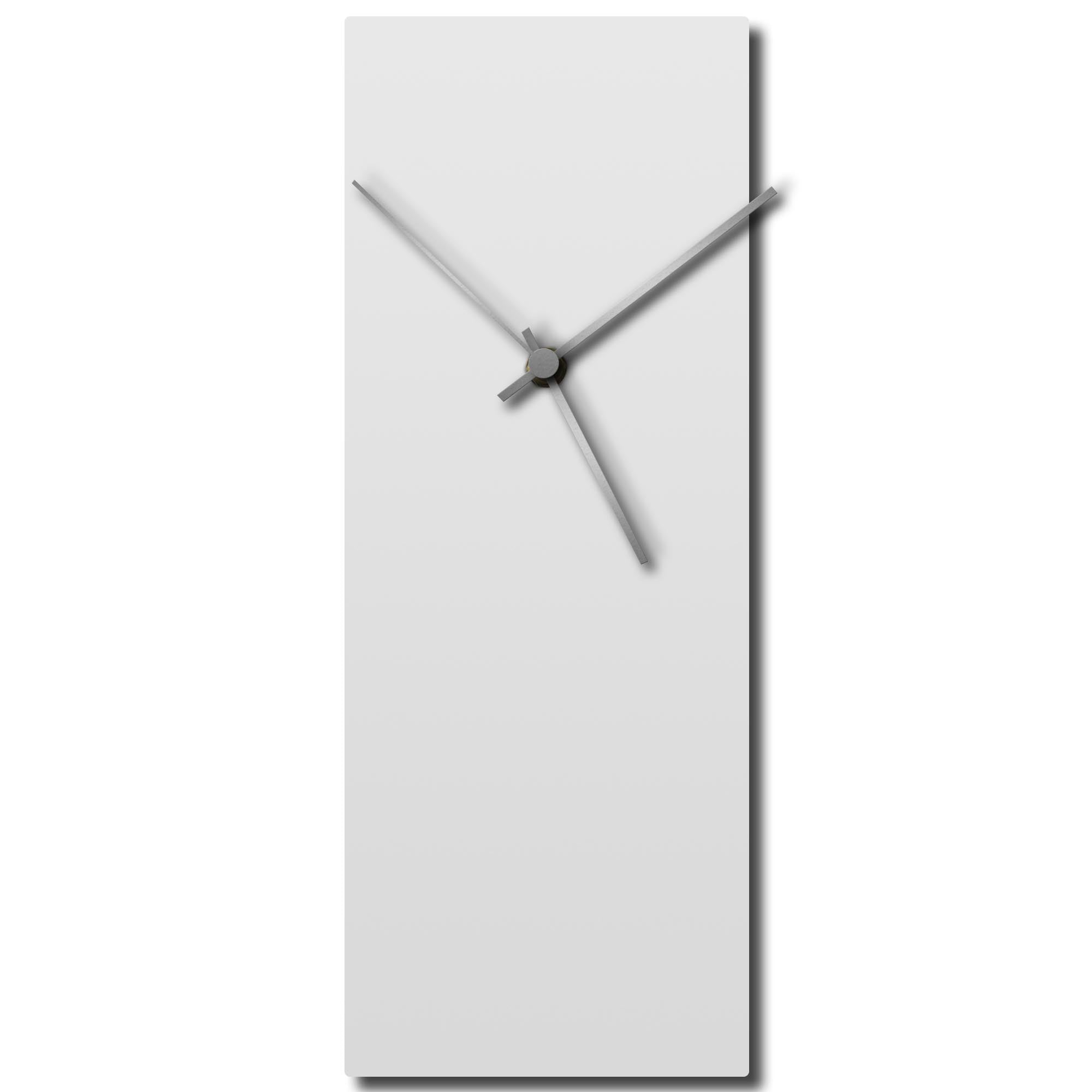Whiteout Silver Clock Large by Adam Schwoeppe - Modern Wall Clock on Brushed White Polymetal