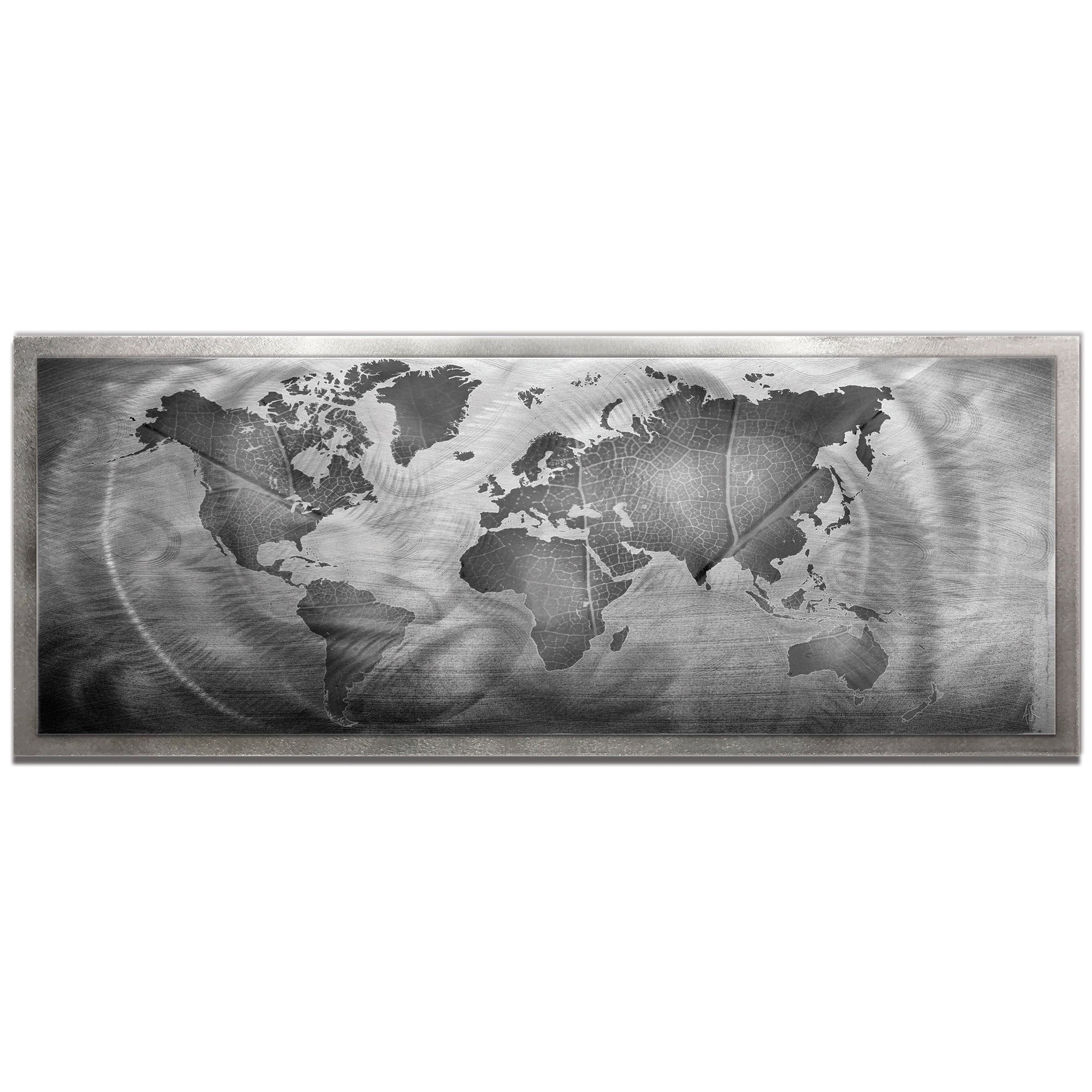 Monochrome Land and Sea Framed by Amber LaRosa - Traditional World Map Art on Colored Metal
