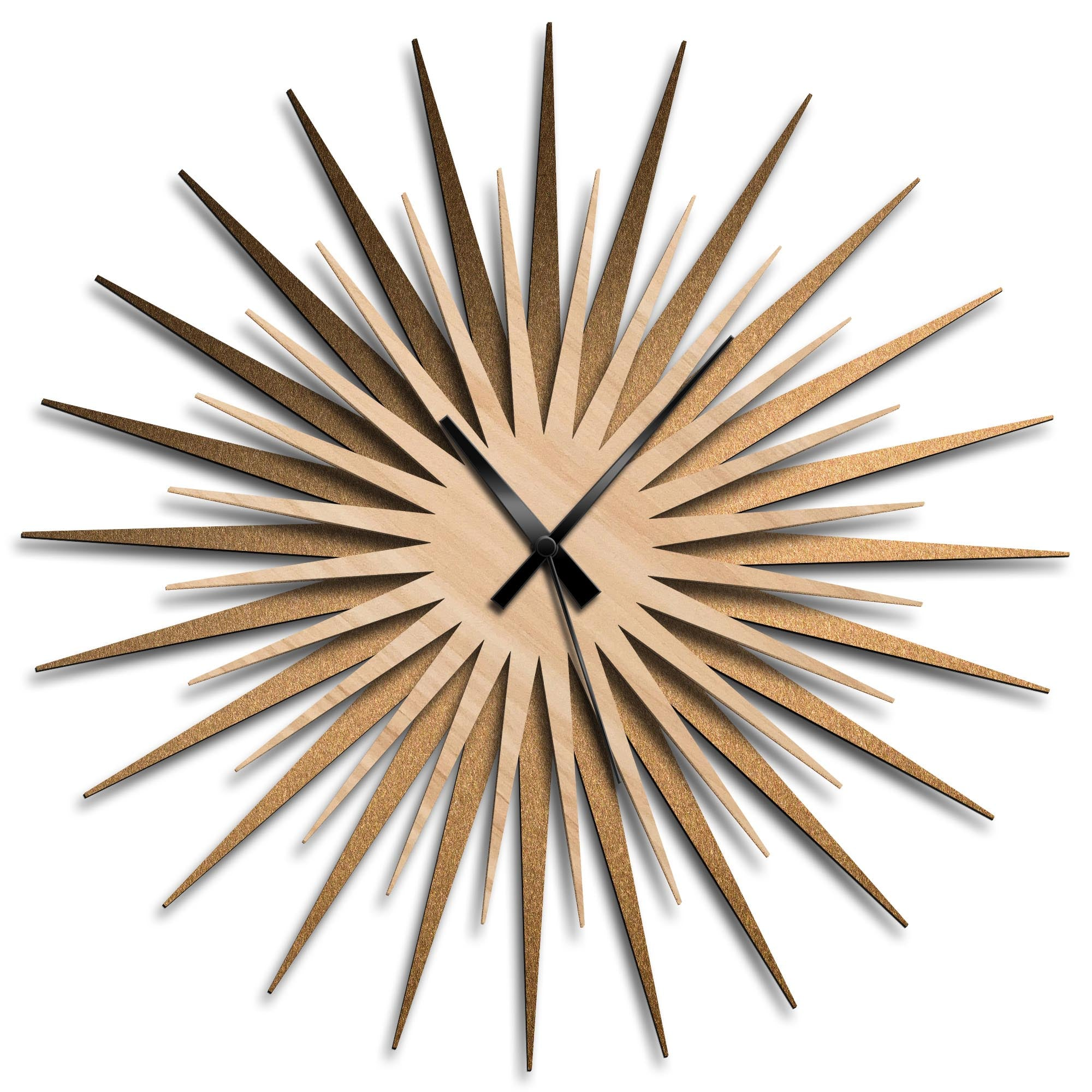 Atomic Era Clock Bronze Maple Black by Adam Schwoeppe - Mid-Century Modern Clock on Brushed Bronze Polymetal