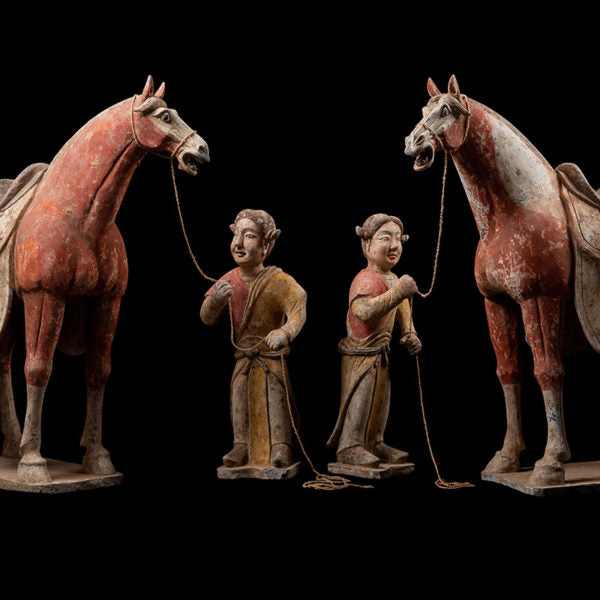 Magnificent Set of White and Red Horses with Trainers Tang Dynasty  '618-907′ AD – TL Tested  – (Price On Request)