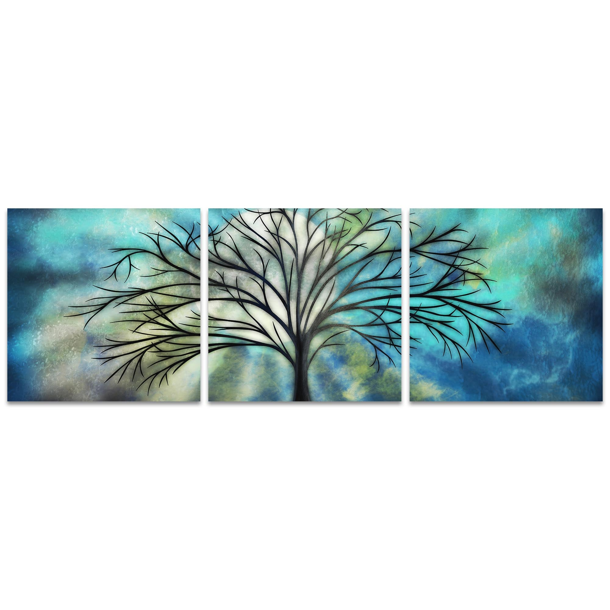 Moonlight Triptych by Stephanie Fields - Whimsical Tree Art on Metal or Acrylic
