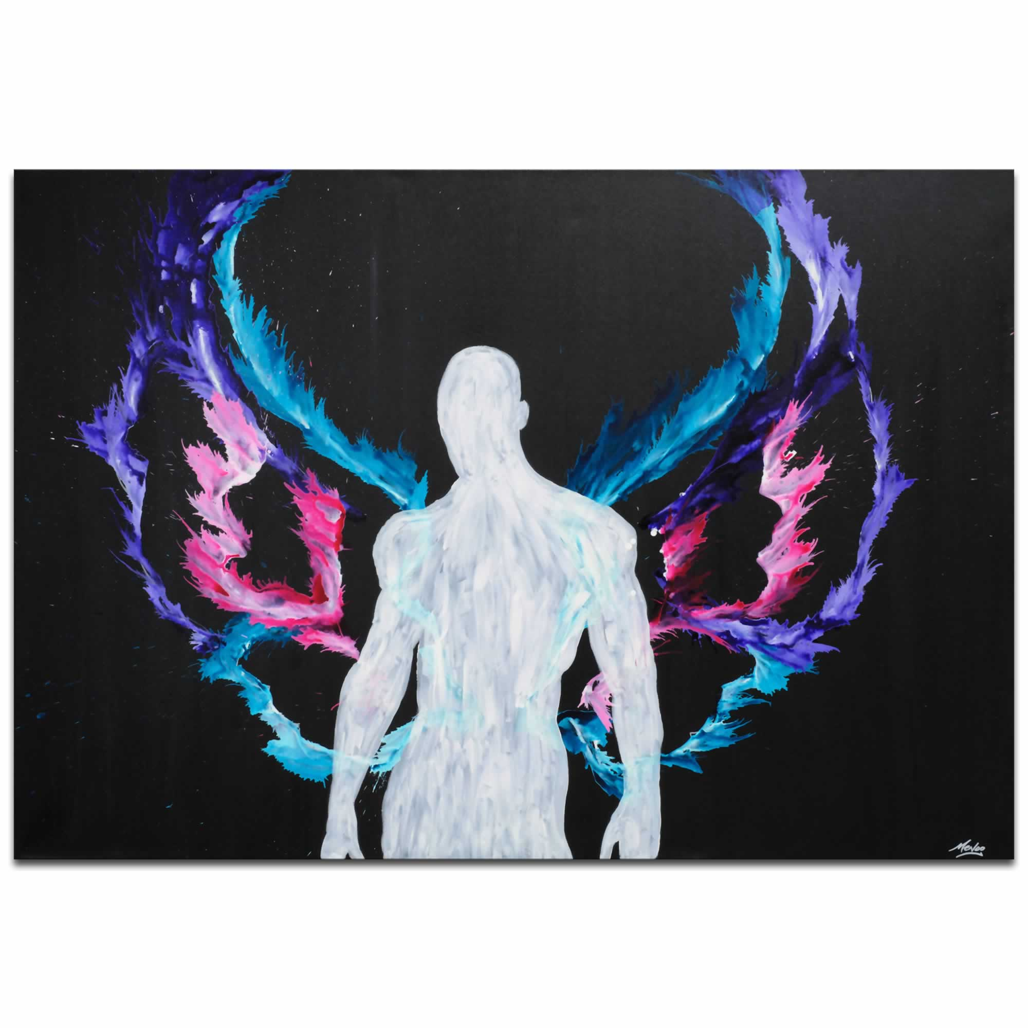 Urban Saint | Contemporary Fantasy Angel Art with Colorful Rainbow Wings, Modern Silhouetted Male Nude Painting Decor