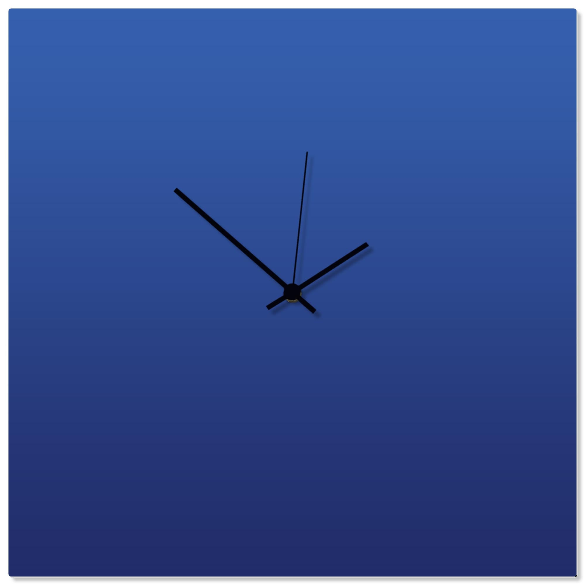Blueout Black Square Clock Large by Adam Schwoeppe - Contemporary Clock on Aluminum Polymetal