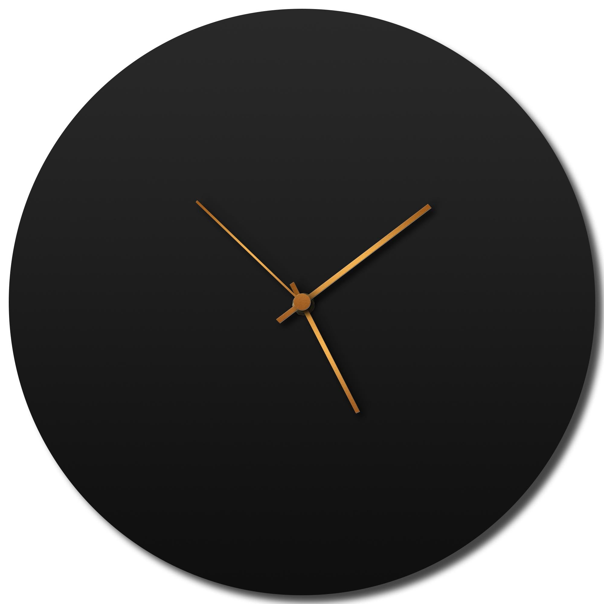 Blackout Bronze Circle Clock Large by Adam Schwoeppe - Modern Wall Clock on Brushed Black Polymetal