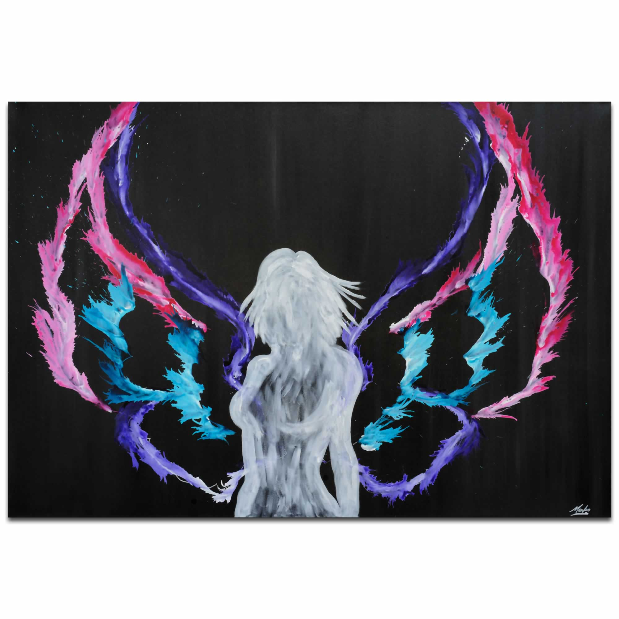 Urban Angel | Contemporary Fantasy Angel Art with Colorful Rainbow Wings, Modern Silhouetted Female Nude Painting Decor
