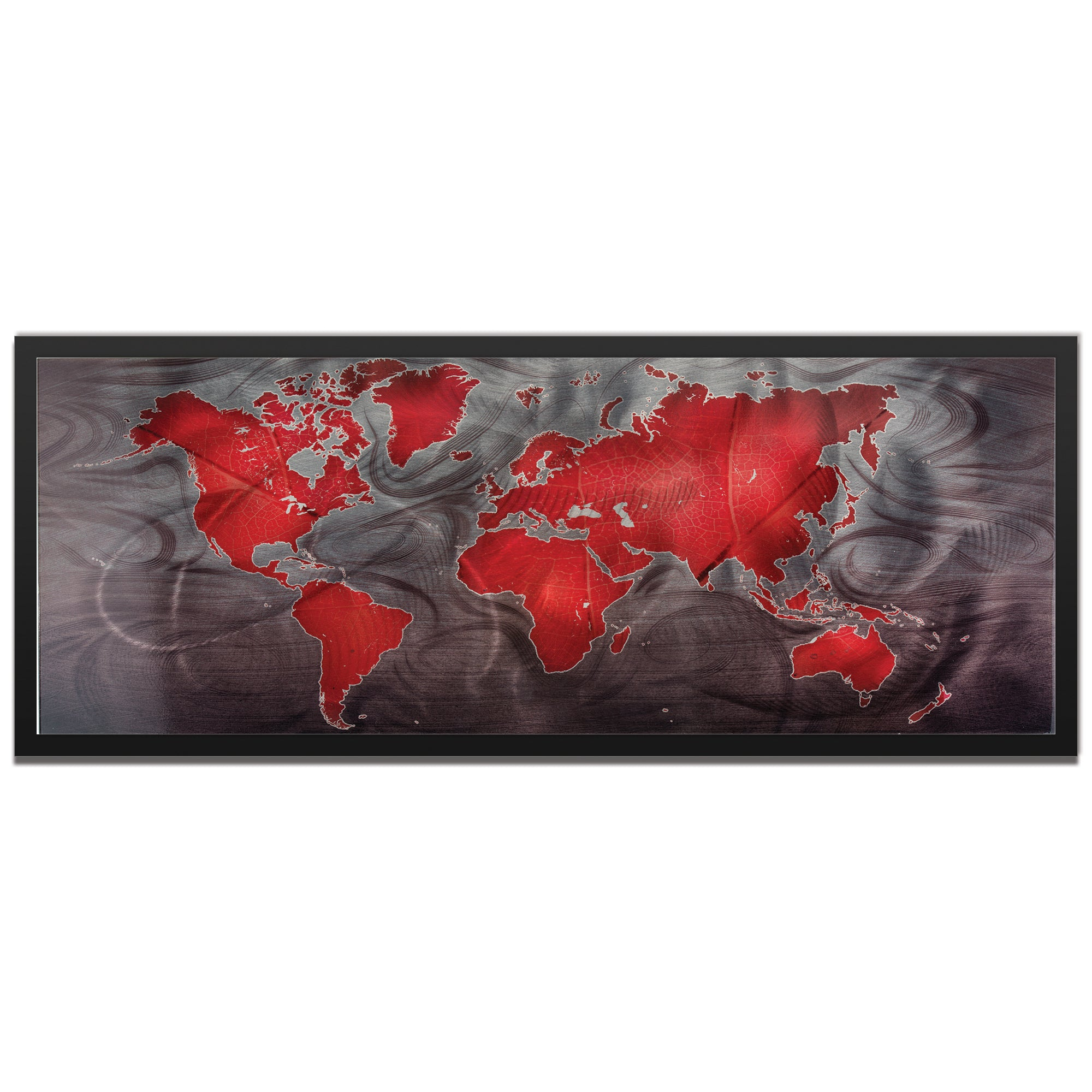 Red Pewter Land and Sea Framed by Amber LaRosa - Traditional World Map Art on Colored Metal