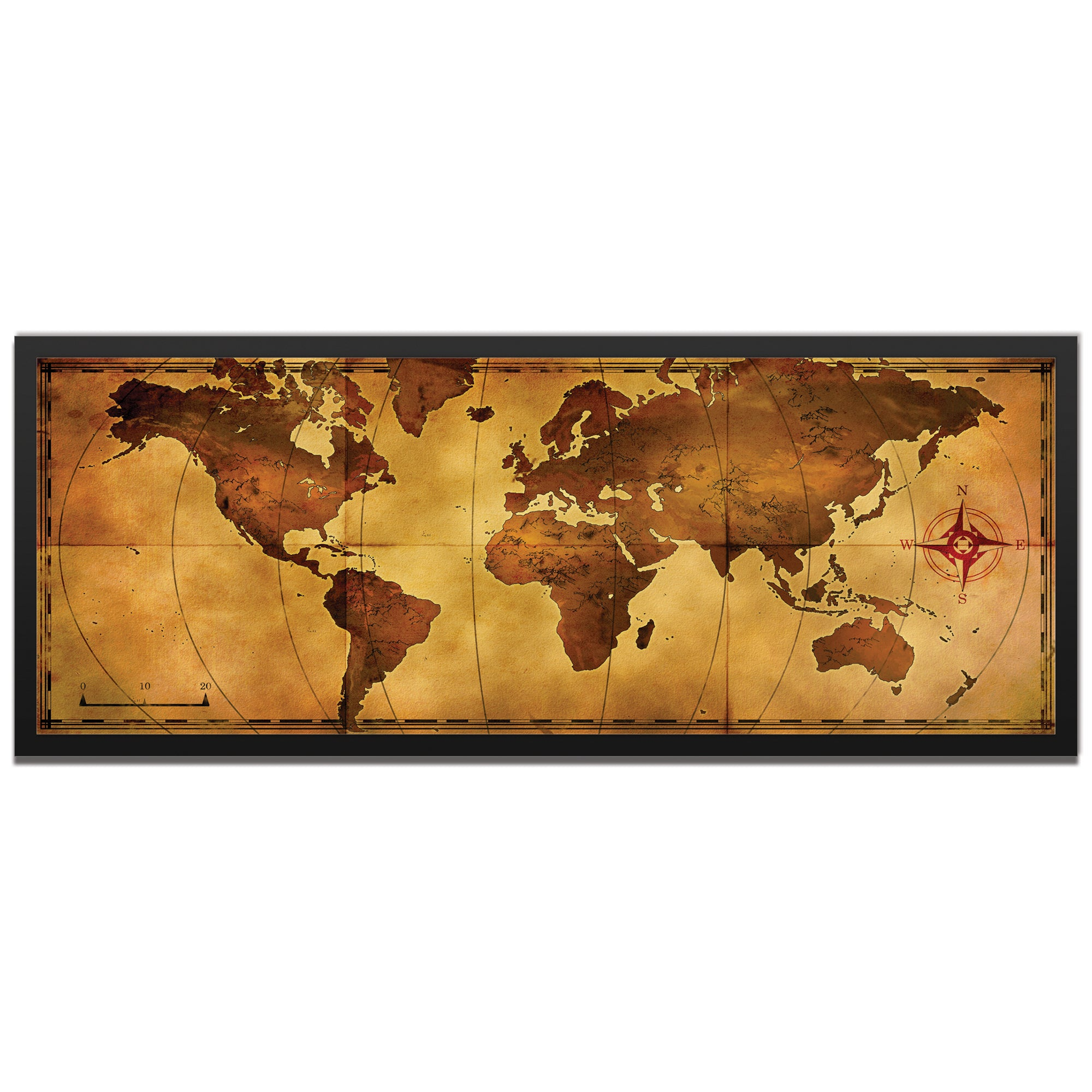 Old World Map Framed by Alan Rodriguez - Traditional World Map Art on Colored Metal