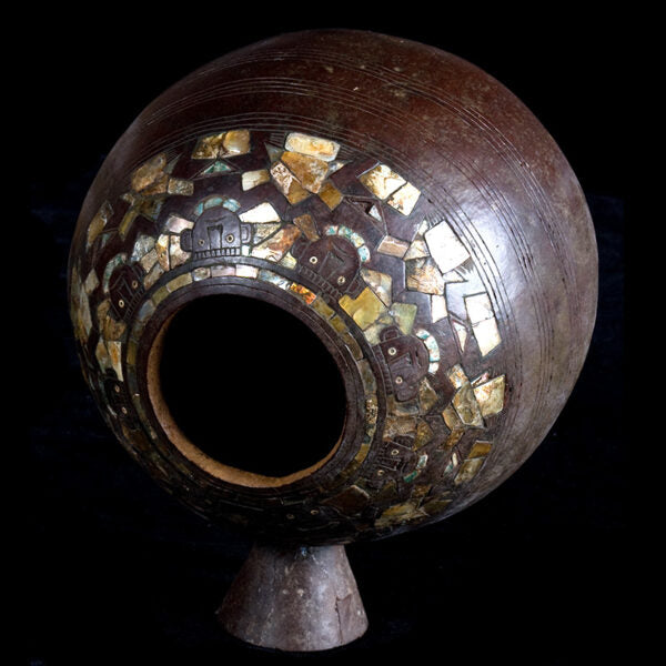 Important Chimu Gourd and Wood Vase Incrusted with Mother of Pearl Human Figures